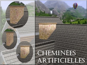 Sims 3 —  by lilliebou — Hi ! This is a set of four decorative chimneys, which means that they are not real chimneys.