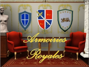 Sims 3 — Armoiries Royales by lilliebou — Hi ! This is a set of three decorative shields. They can be found in the wall