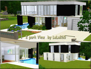 Sims 3 — 2 Park View by Lulu265 — A modern home for your Sims. Downstairs is a sitting room, dining area, kitchen, study