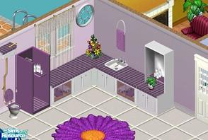 Sims 1 — Sweet Grape Bathroom by sgandra — Includes: Counter (2), Cabinet, Plant, Shower, Toilet, Towel