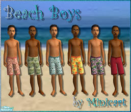 Sims 2 — Beach Boys by minicart — A set of 6 swimwear for your little boys. One of each in pink, green, blue, yellow,