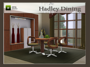 Sims 3 — Hadley Dining by Angela — Hadley Dining, set contains: 2 tile table, Chair, Cabinet, Walllamp, Sheer Curtains,