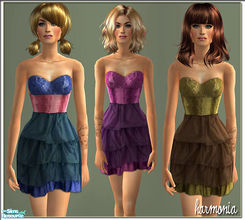 Sims 2 — Ruffle Layer Dress by Harmonia — 3 Charmig Color