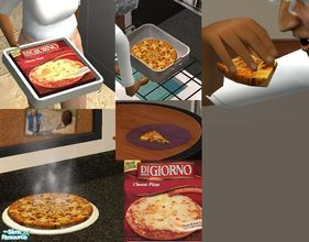 Sims 2 — Digornio Cheese Pizza by TheNinthWave — With custom plate which is required. For all 3 meals of the day. I hope