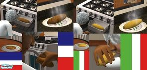 Sims 2 — Garlic and French Bread by TheNinthWave — Included are 2 new meals, garlic and French bread, both fully animated
