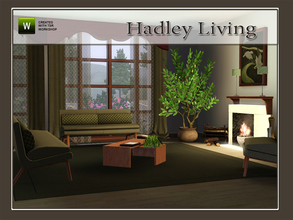 Sims 3 — Hadley Living by Angela — Hadley living. Set contains: Sofa, Loveseat, Chair, Fireplace (smaller than originals)