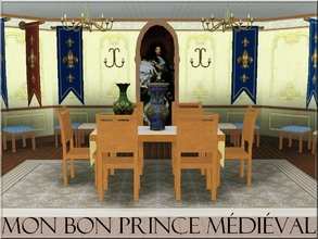 Sims 3 —  by lilliebou — This is a set of nine medieval items for your dining room : -Portrait of Louis XIV (One part