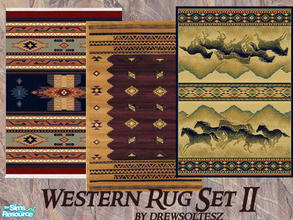 Sims 2 — Western Rug Set II by drewsoltesz — A set of three Native American rugs to decorate your Western lots,