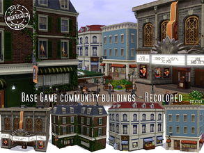 Sims 3 — Base Game Community Buildings Recolored by estatica — Tired of your old community lots that came with base game?