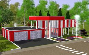 Sims 3 — The Water Spirits Firestation by Anakin_Stupaine — A modern, very brightly red Firestation. It holds two trucks