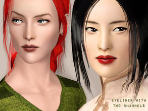 Sims 3 — Eyeliner with two channels by flinn — Available for both genders, ages toddler to elder.Two channels: 1 -