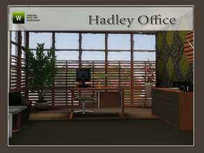 Sims 3 — Hadley Office by Angela — Hadley Office, fits your modern home office. Set contains: Desk, Cabinet, Clock, Lamp,