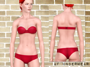 Sims 3 — Plain underwear set for YA AF by flinn — Strapless bra with hipsters for young adults and adults. One channel on