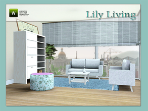 Sims 3 — Lily Living by Angela — Lily Living, Modern Livingroom. Made by Angela@TSR, set contains: Loveseat, Coffeetable,