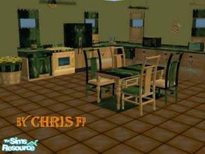Sims 2 — Kitchen Golden Green by chrisfp — The sophisticade kitchen in golden and green. All the objects from Maxis. Set