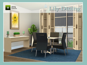 Sims 3 — Lily Dining by Angela — Lily Dining, set contains: Table, Chair, Sidetable, Candle, Painting, Rug and