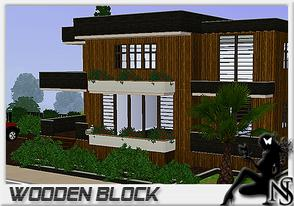 Sims 3 — Wooden Block by Nea-005 — Made by NeaSims@2011 2 stories house - livingroom - diningroom - kitchen - study room