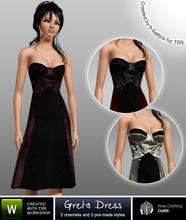 Sims 3 — Greta Dress by b-bettina — A fabulously feminine set of strapless dresses inspired by Versace. 2 recolorable