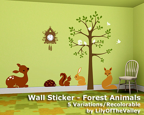 Lilyofthevalley S Wall Sticker Forest Animals