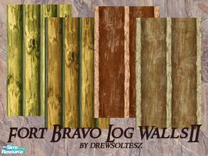 Sims 2 — Fort Bravo Log Walls II by drewsoltesz — This is a set of walls I made to go with my Fort Bravo lot/story. Four