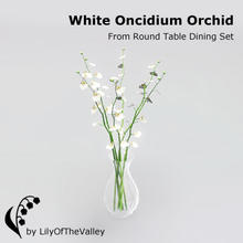 Sims 3 — Round Table Dining - White Oncidium Orchid by LilyOfTheValley — Beautiful white oncidium orchids in a glass vase