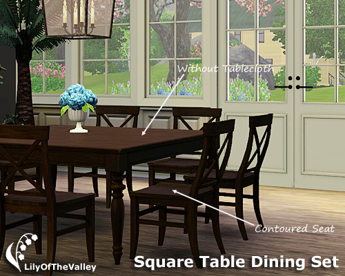 Lilyofthevalley 39 s square table dining set for Sims 3 dining room ideas
