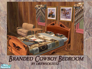 Sims 2 — Branded Cowboy Bedroom by drewsoltesz — A decidedly country/western themed bedroom, only one EP needed is for
