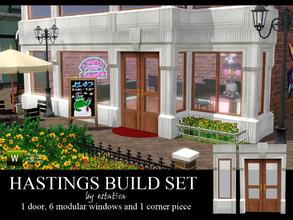 Sims 3 — Hastings Build Set by estatica — This set includes 1 double door, 6 modular windows to mix and match and 1