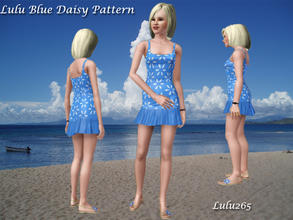 Sims 3 — Lulu Blue Daisies by Lulu265 — Blue daisy pattern fully recolourable for use anywhere