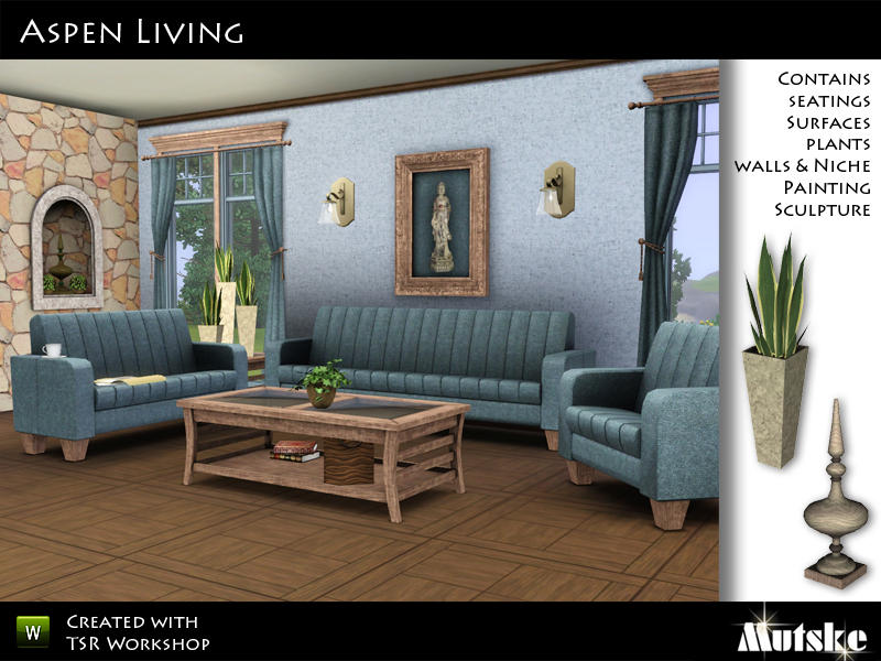 Mutske 39 s aspen livingroom for Sims 3 living room ideas