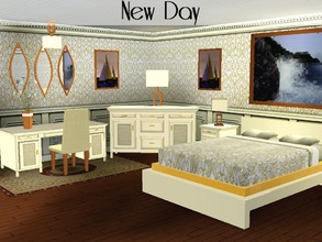 Sims 3 — New Day Bedroom Set by lilliebou — Hello ! This is a set of 14 items for your bedrooms : -x1 Bed -x1 End table