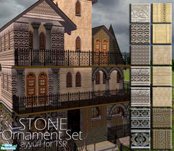 Sims 2 — Stone Ornament Wall Set by ayyuff — 14 walls.. Cost:2