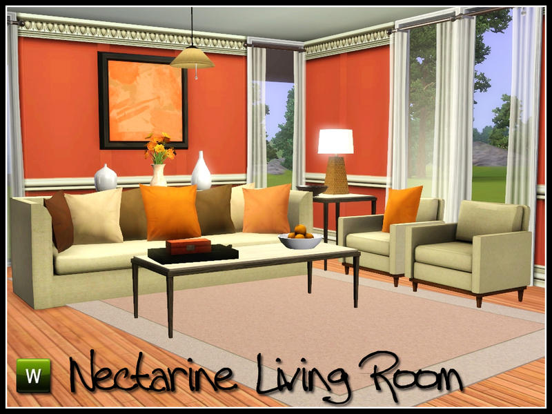Sim man123 39 s nectarine living room for Living room ideas sims 3