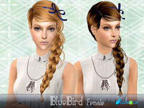 Sims 2 — NewSea SIMS2Hair J054f BlueBird by newsea — A long classic braid in various colors complete with a ribbon.