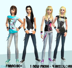 Sims 2 — Casual Girls - Collection 14 for Teen Females  by francisssko — 1 New mesh (included) + 4 recolors. Enjoy ^_^