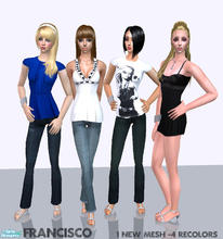Sims 2 — Fancy - Collection 13 for Adult Females by francisssko — 1 new mesh + 4 recolors! Enjoy ^_^