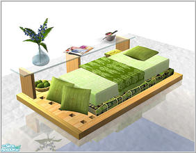 Sims 2 — students room-B43_single_floorbed_green by Birgit43 — the bed animations are a little bit odd cause the bed is