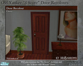 "Sims 2 — Old Yankee 4 Score Recolour - Cherry by MsBarrows — A recolour of the Old Yankee ""4 Score\"" Door from"