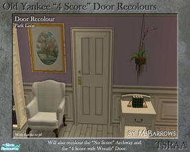 "Sims 2 — Old Yankee 4 Score Recolour - Park Lane by MsBarrows — A recolour of the Old Yankee ""4 Score\"" Door"