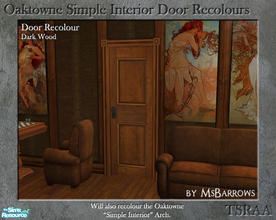 Sims 2 — Oaktowne Interior Door Recolour - Dark Wood by MsBarrows — A recolour of the Oaktowne Simple Interior door from