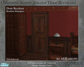 Sims 2 — Oaktowne Interior Door Recolour - Brazilian Mahogany by MsBarrows — A recolour of the Oaktowne Simple Interior