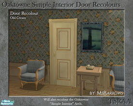 Sims 2 — Oaktowne Interior Door Recolour - Old Cream by MsBarrows — A recolour of the Oaktowne Simple Interior door from