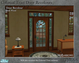 Sims 2 — Colonial Tract Door Recolour - Dark Wood by MsBarrows — A recolour of the Colonial Tract Door from base game, to