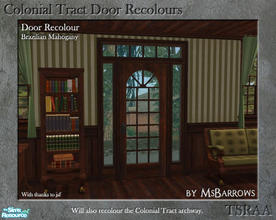 Sims 2 — Colonial Tract Door Recolour - Brazilian Mahogany by MsBarrows — A recolour of the Colonial Tract Door from base
