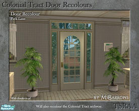 Sims 2 — Colonial Tract Door Recolour - Park Lane by MsBarrows — A recolour of the Colonial Tract Door from base game, to