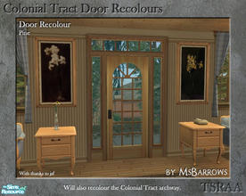Sims 2 — Colonial Tract Door Recolour - Pine by MsBarrows — A recolour of the Colonial Tract Door from base game, to