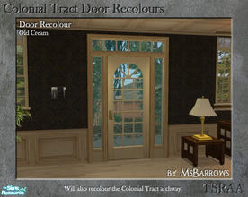Sims 2 — Colonial Tract Door Recolour - Old Cream by MsBarrows — A recolour of the Colonial Tract Door from base game, to