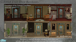 Sims 2 — Colonial Tract Door Recolours by MsBarrows — Six recolours of the Colonial Tract Door from base game, to match