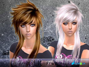 Sims 2 — SIMS2set Hair J057f Holic by newsea — A rockstar hairstyle in mixed colors.