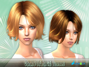 Sims 2 —  Newsea SIMS2  Hair J059f Camouflage by newsea — A short common hairstyle in various colors.